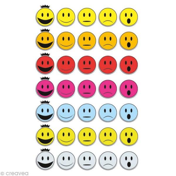 Sticker fantaisie Smileys x 35 - 1 planche 7,5 x 12 cm - Photo n°1