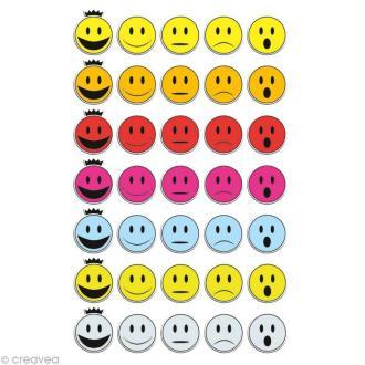 Sticker fantaisie Smileys x 35 - 1 planche 7,5 x 12 cm