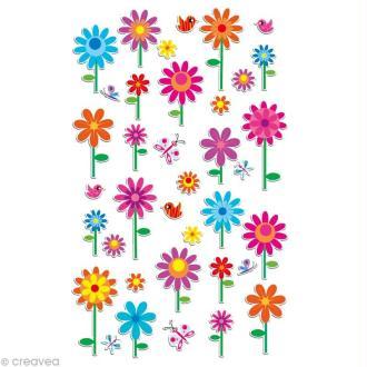 Sticker fantaisie Fleurs x 37 - 1 planche 7,5 x 12 cm