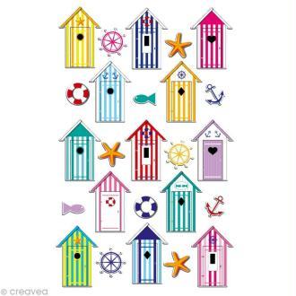 Sticker fantaisie Cabines de plage x 25 - 1 planche 7,5 x 12 cm