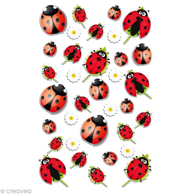 sticker fantaisie coccinelles x 34 1 planche 7 5 x 12 cm gommette animaux creavea. Black Bedroom Furniture Sets. Home Design Ideas