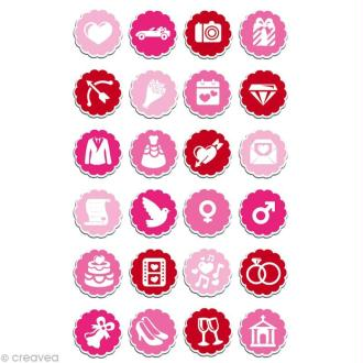 Sticker fantaisie Mariage x 24 - 1 planche 7,5 x 12 cm