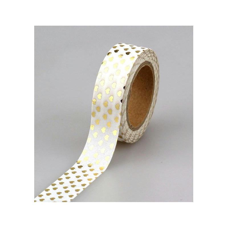 washi tape c ur dor et blanc 1 rouleau de ruban en papier adh sif 10 m tres 15 mm washi. Black Bedroom Furniture Sets. Home Design Ideas