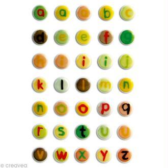 Sticker fantaisie Alphabet minuscules x 35 - 1 planche 7,5 x 12 cm