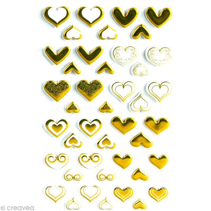 Sticker fantaisie Coeurs or x 60 - 1 planche 7,5 x 12 cm - Photo n°1