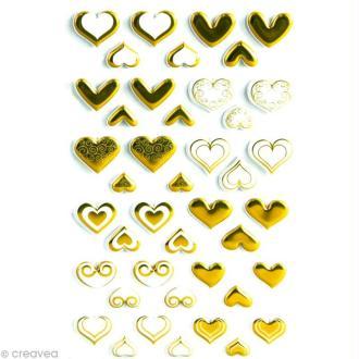 Sticker fantaisie Coeurs or x 60 - 1 planche 7,5 x 12 cm
