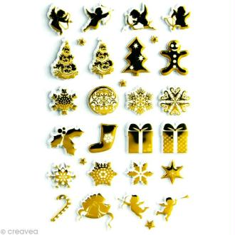 Sticker fantaisie Noël doré x 30 - 1 planche 7,5 x 12 cm