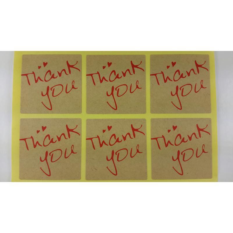 autocollants carr s message merci stickers tiquettes criture rouge 4x4 cm 9 pcs etiquette. Black Bedroom Furniture Sets. Home Design Ideas