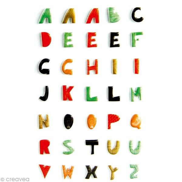 Sticker fantaisie Alphabet majuscules x 35 - 1 planche 7,5 x 12 cm - Photo n°1