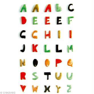 Sticker fantaisie Alphabet majuscules x 35 - 1 planche 7,5 x 12 cm