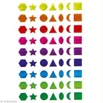 Sticker fantaisie Formes géométriques multicolores x 63 - 1 planche 7,5 x 12 cm