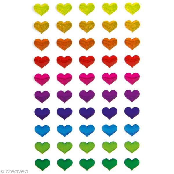 Sticker fantaisie Coeurs multicolores x 50 - 1 planche 7,5 x 12 cm - Photo n°1