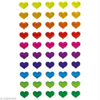 Sticker fantaisie Coeurs multicolores x 50 - 1 planche 7,5 x 12 cm
