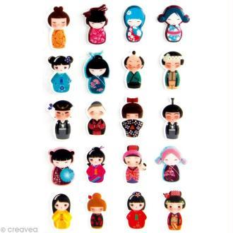 Sticker fantaisie Kokeshi x 22 - 1 planche 7,5 x 12 cm