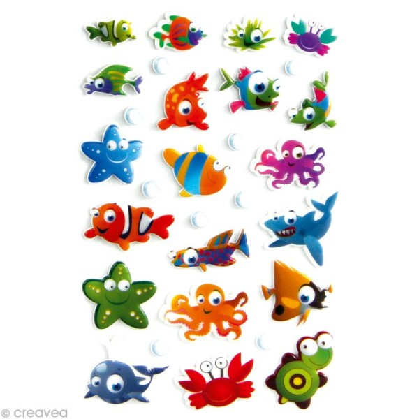 Sticker fantaisie Animaux de la mer x 29 - 1 planche 7,5 x 12 cm - Photo n°1