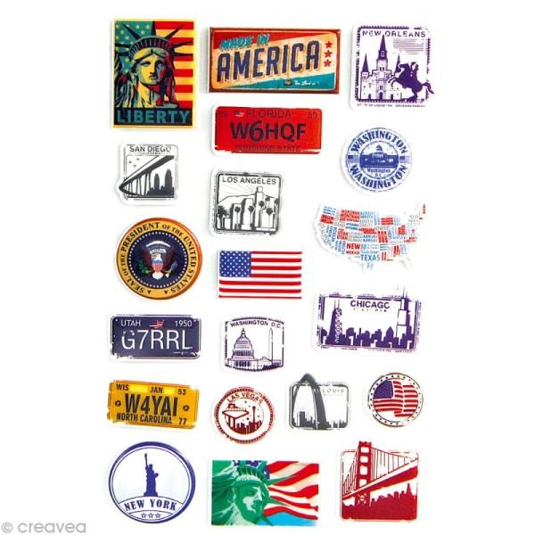 Sticker fantaisie USA x 20 - 1 planche 7,5 x 12 cm - Photo n°1
