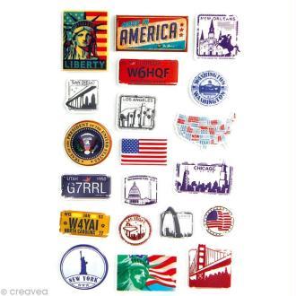 Sticker fantaisie USA x 20 - 1 planche 7,5 x 12 cm