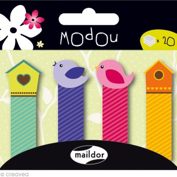 Mémo adhésif Modou Marker - Oiseaux Multicolore - 80 pcs - Photo n°1