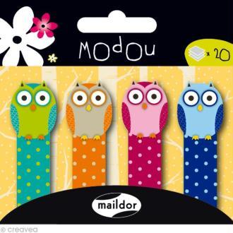 Mémo adhésif Modou Marker - Hibou Multicolore - 80 pcs