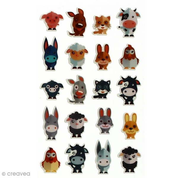Sticker fantaisie Assortiment Animaux x 160 - 8 planches 7,5 x 12 cm - Photo n°4