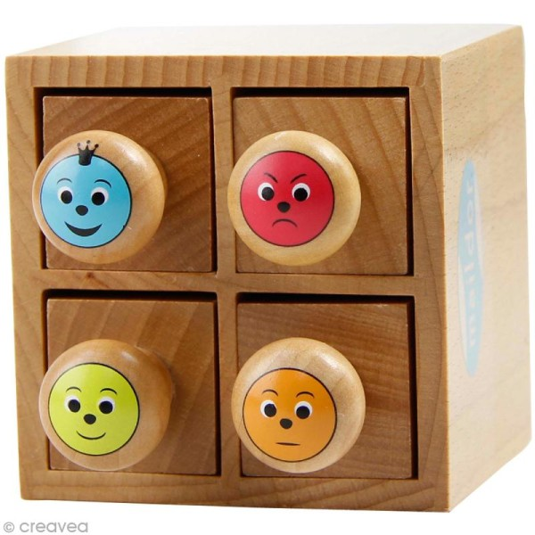 Boîte de tampons en bois Smileys - 4 tampons - Photo n°1