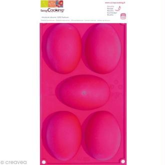 Moule silicone Oeuf de Pâques - 5 demi-oeufs de 10 x 7 cm