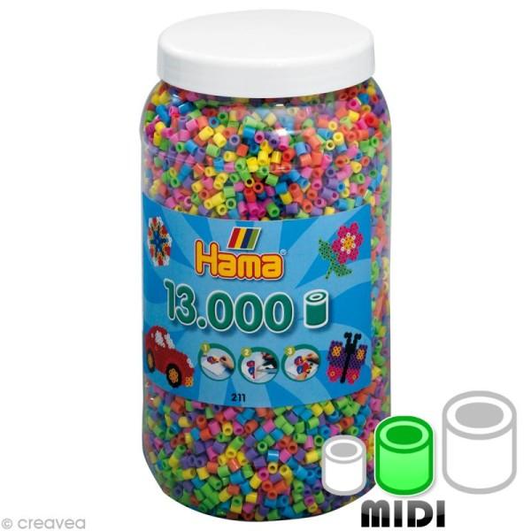 Perles Hama Midi diam. 5 mm - Assort. pastel x 13000 - Photo n°1