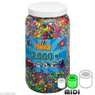 Perles Hama Midi diam. 5 mm - Assort. pastel x 13000
