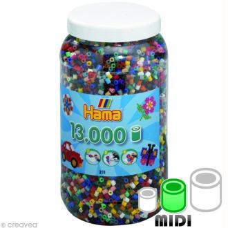 Perles Hama Midi diam. 5 mm - Assort. 22 couleurs x 13000