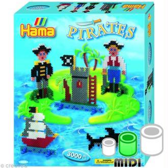 Perles Hama Midi diam. 5 mm - Coffret Moyen modèle Pirates x 3000