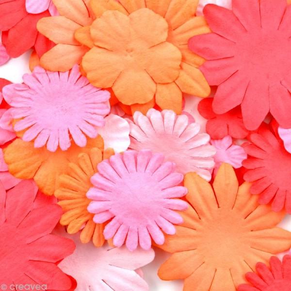 Fleurs en papier Rose Orange et Rouge - 75 pièces - Photo n°2