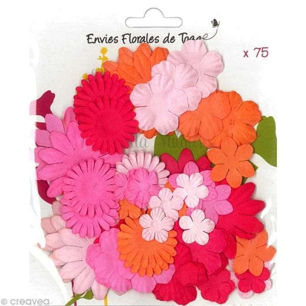 Fleurs en papier Rose Orange et Rouge - 75 pièces - Photo n°1