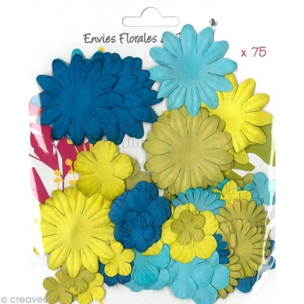 Fleurs en papier Bleu et Vert - 75 pièces - Photo n°1