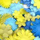 Fleurs en papier Bleu et Vert - 75 pièces - Photo n°2
