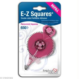 Recharge dérouleur adhésif permanent E-Z Squares pastilles - 650 pièces