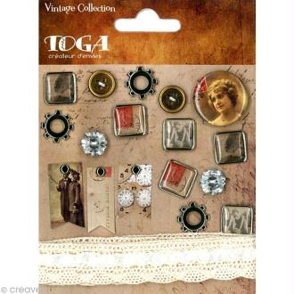 Embellissement scrap vintage - 18 pcs
