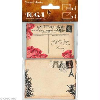 Mini carte et enveloppe Vintage x 4