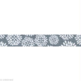 Masking tape tissu - Gris bleu Dahlia Daily Like x 5 m