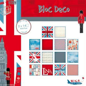 Papier scrap P'tit Bloc Londres 20 x 20 cm - 28 feuilles