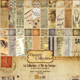Papier scrapbooking Vintage L'Air du temps - Set 10 papiers recto/verso 30 cm