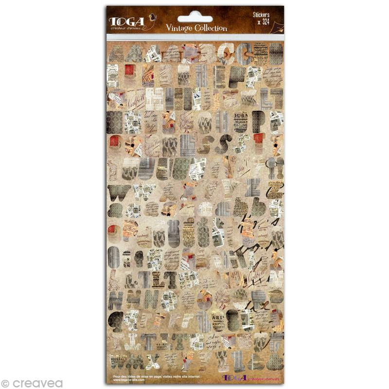 Stickers Alphabet Vintage - 2 planches 15 x 30 cm - Photo n°2