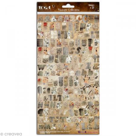 Stickers Alphabet Vintage - 2 planches 15 x 30 cm - Photo n°2
