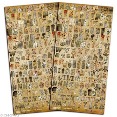 Stickers Alphabet Vintage - 2 planches 15 x 30 cm - Photo n°1