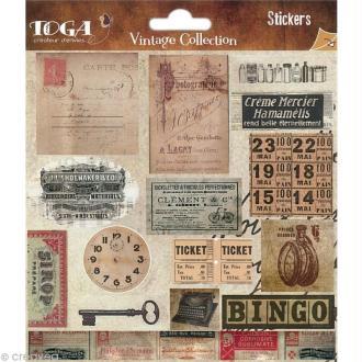 Stickers scrapbooking Etiquettes Vintage - 2 planches 15 x 30 cm
