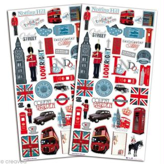 Stickers scrapbooking Londres - 2 planches 15 x 30 cm