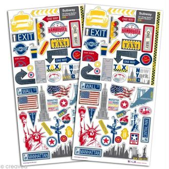 Stickers scrapbooking New York - 2 planches 15 x 30 cm
