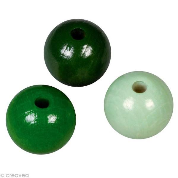 Perle en bois couleur 10 mm - Assortiment Vert x 52 - Photo n°1