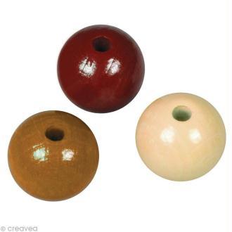 Perle en bois couleur 10 mm - Assortiment Brun x 52