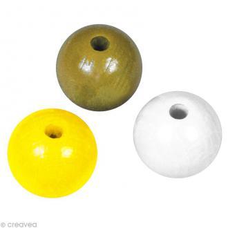 Perle en bois couleur 10 mm - Assortiment Jaune x 52