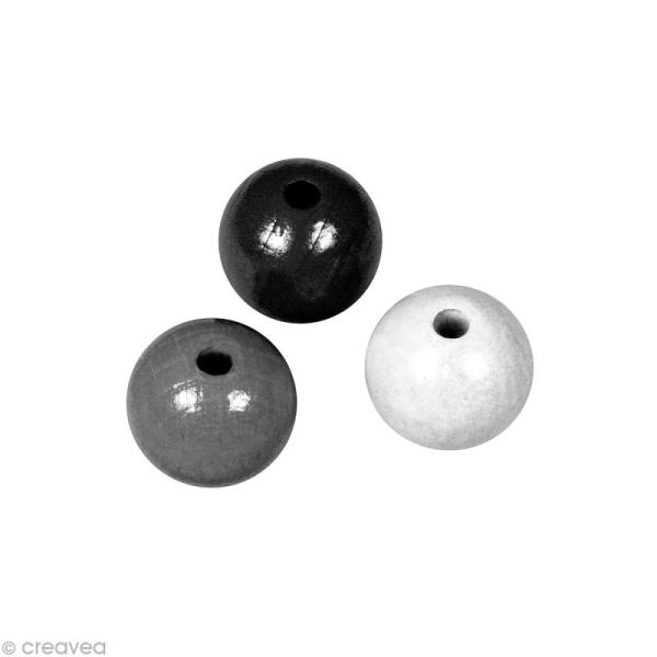 Perle en bois couleur 6 mm - Assortiment Noir et blanc x 115 - Photo n°1